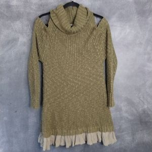 EASEL | Cold Shoulder Cowl Neck Tunic Sweater